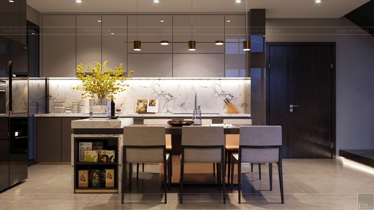 thiết kế nội thất căn hộ penthouse - phòng bếp