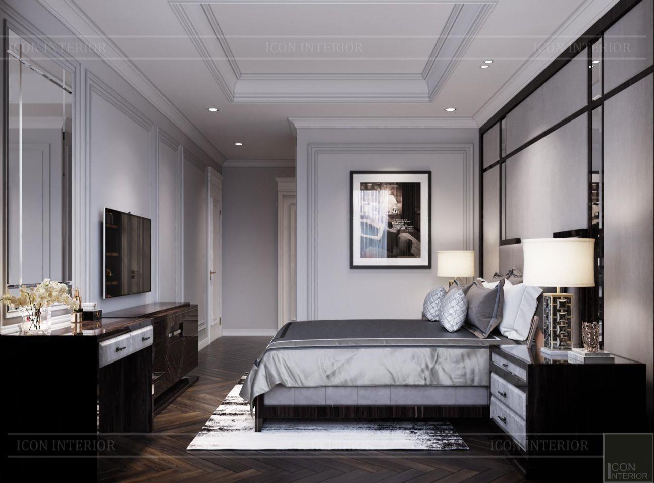 thiết kế nội thất phòng ngủ căn hộ sunwah pearl 100m2