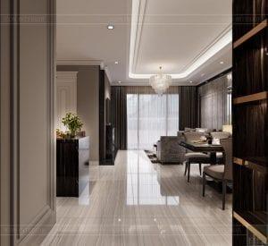 thiết kế nội thất căn hộ sunwah pearl - tiền sảnh