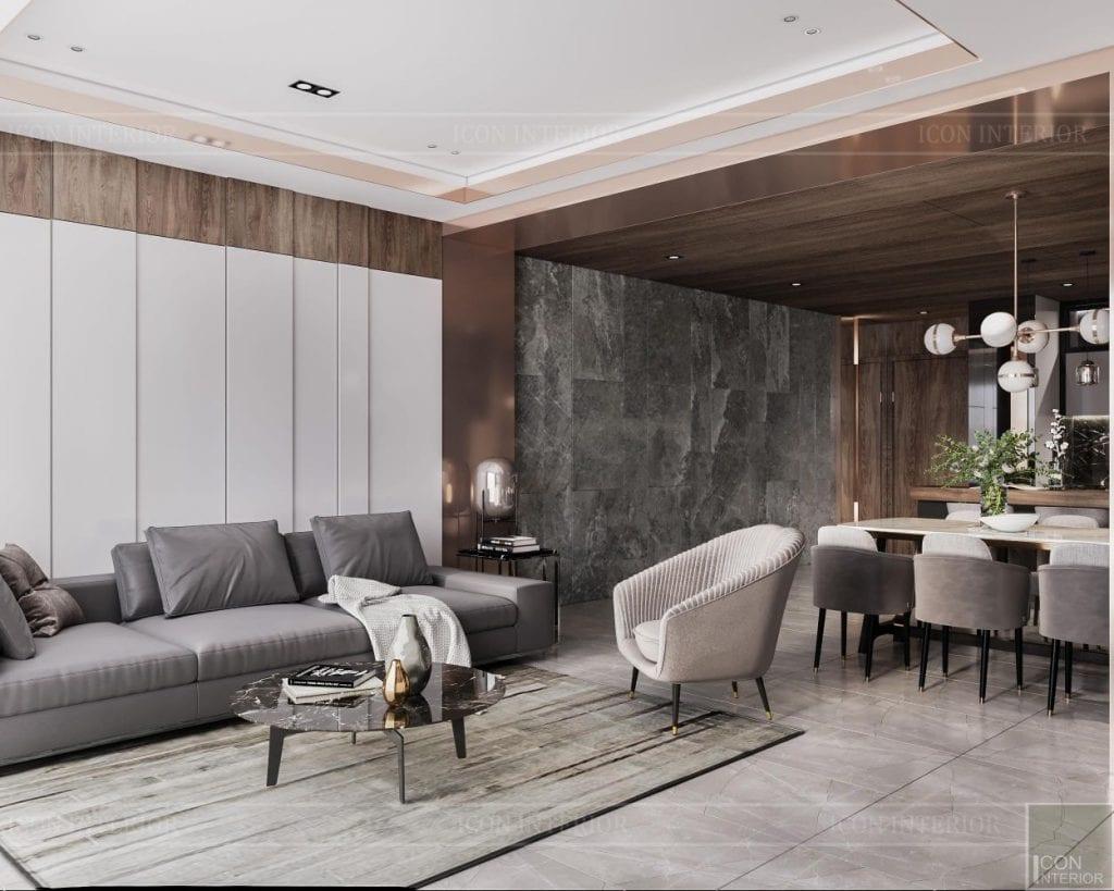 thiết kế căn hộ sunwah pearl - phòng khách 2