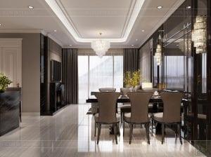 thiết kế nội thất căn hộ sunwah pearl - phòng khách bếp