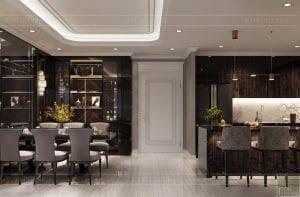 thiết kế nội thất căn hộ sunwah pearl - phòng ăn và bếp