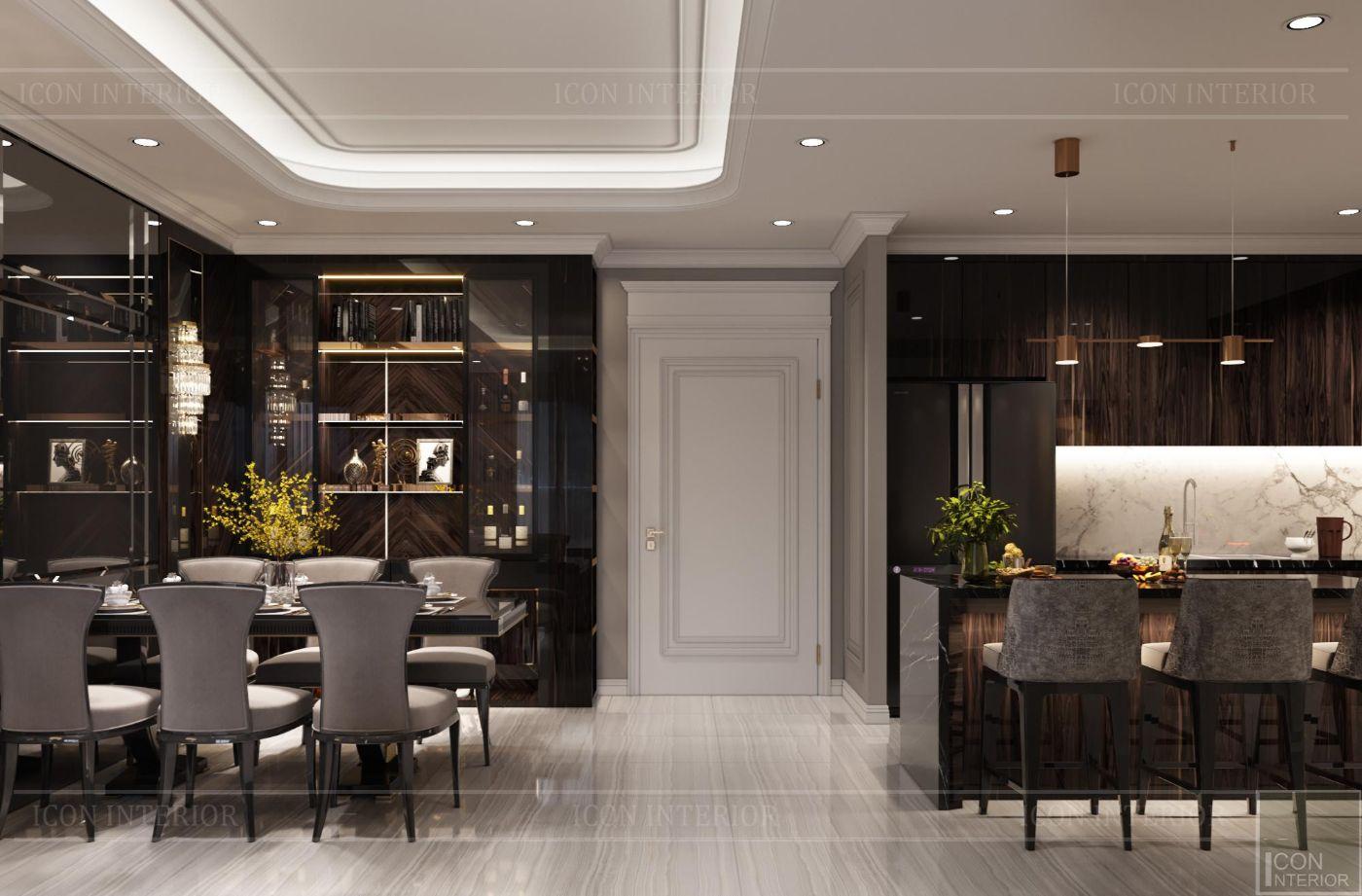 Thiết kế nội thất chung cư 100m2 Kingdom 101 phòng bếp