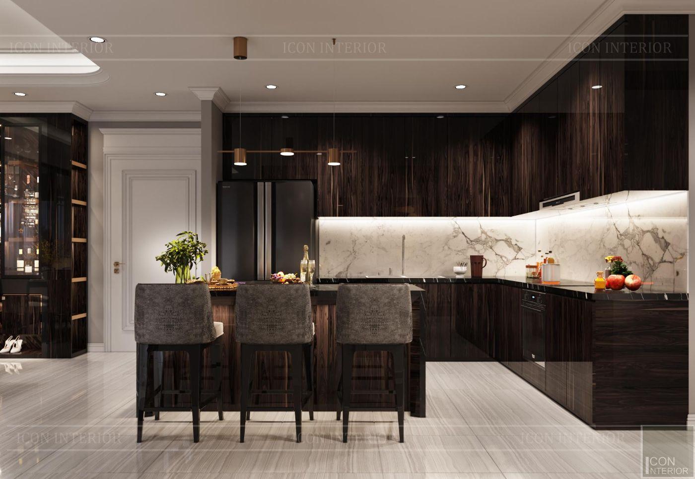 thiết kế nội thất căn hộ sunwah pearl - phòng bếp 1