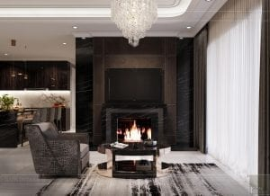 thiết kế nội thất căn hộ sunwah pearl - phòng khách 1