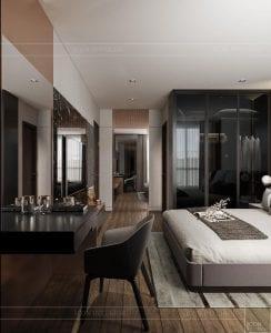 thiết kế căn hộ sunwah pearl - phòng ngủ master 2