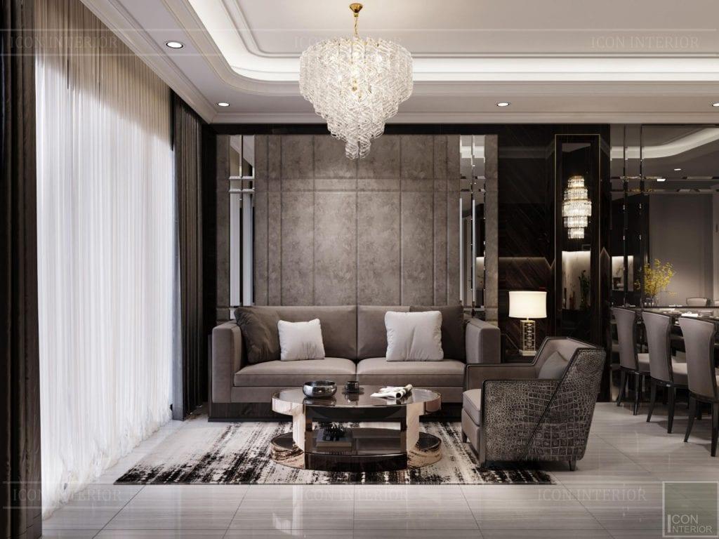 thiết kế nội thất căn hộ sunwah pearl - phòng khách 2