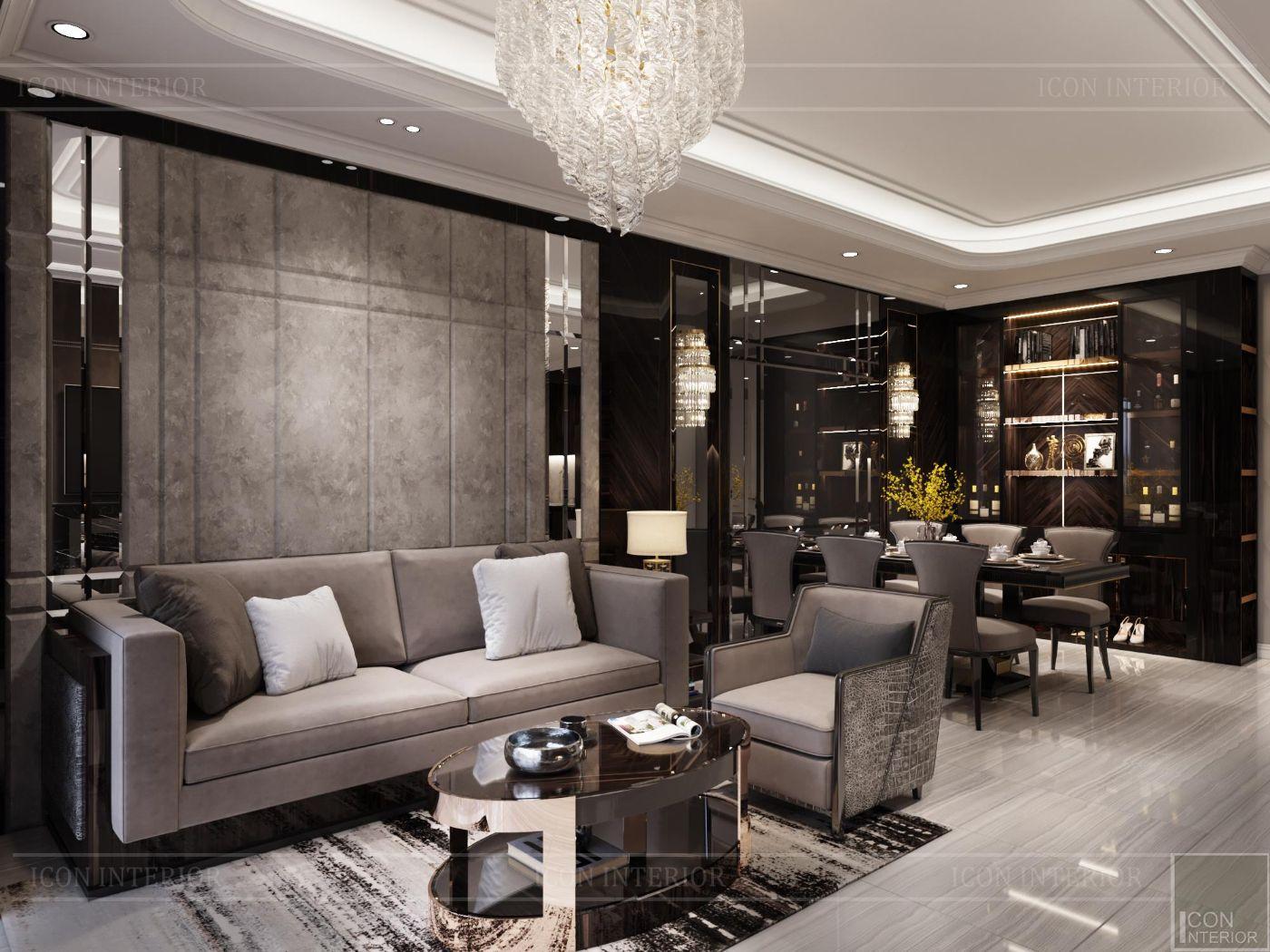 thiết kế nội thất căn hộ sunwah pearl - phòng khách 4