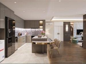 thiết kế chung cư thảo điền pearl - phòng bếp
