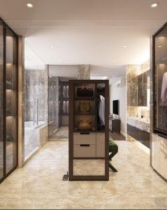 thiết kế chung cư thảo điền pearl - phòng thay đồ 1