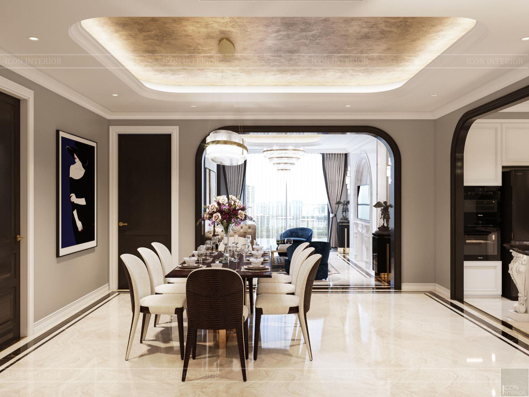 Thiết kế nội thất chung cư 100m2 Opal Tower phòng ăn