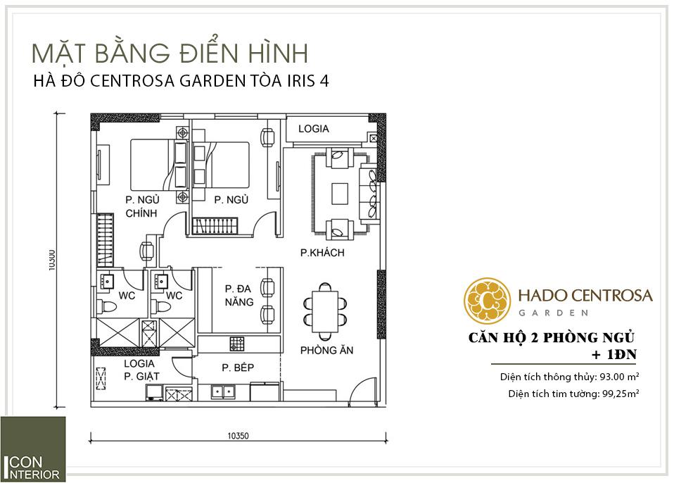 Mặt bằng mẫu thiết kế nội thất căn hộ Hà Đô Centrosa quận 10