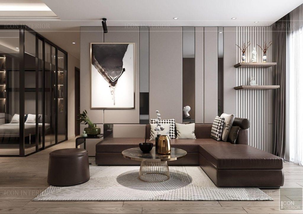 Mẫu thiết kế nội thất đẹp phòng khách Hà Đô Centrosa tòa Iris 4