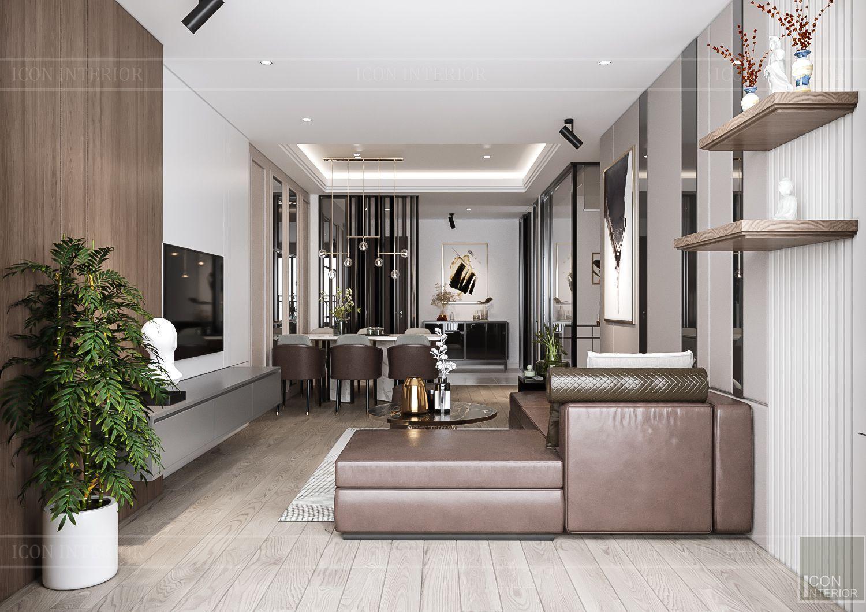 Mẫu thiết kế nội thất đẹp phòng khách Hà Đô Centrosa