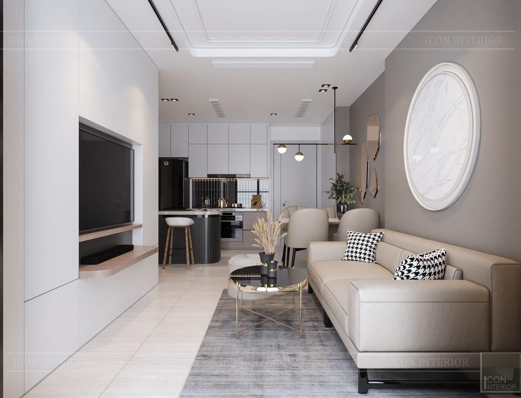 Thiết kế nội thất chung cư 2 phòng ngủ Kingdom 101 - phòng khách