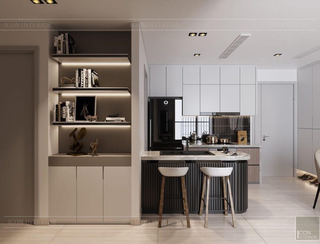 Thiết kế nội thất chung cư 2 phòng ngủ Kingdom 101 - phòng bếp