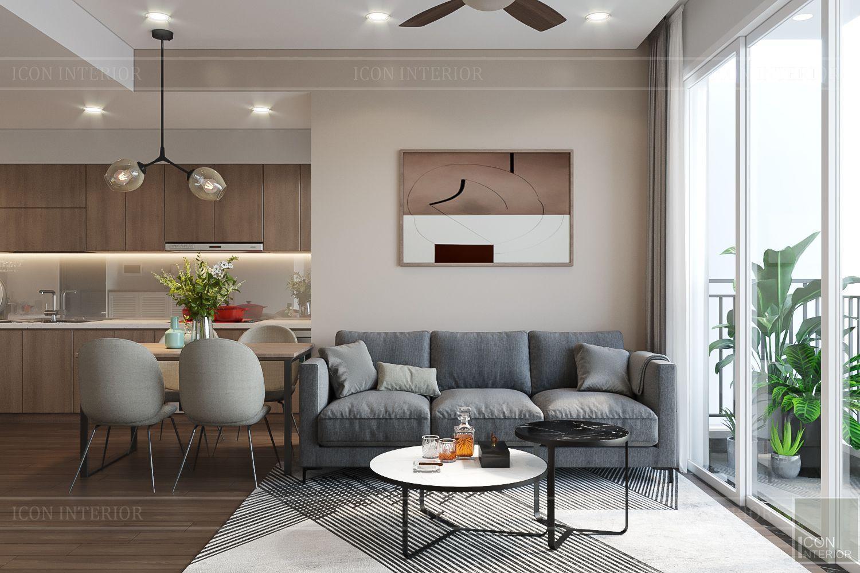Thiết kế nội thất căn hộ Palm Heights - phòng khách