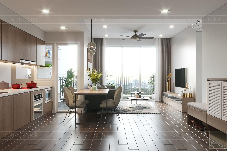 Thiết kế nội thất căn hộ Palm Heights - phòng khách bếp