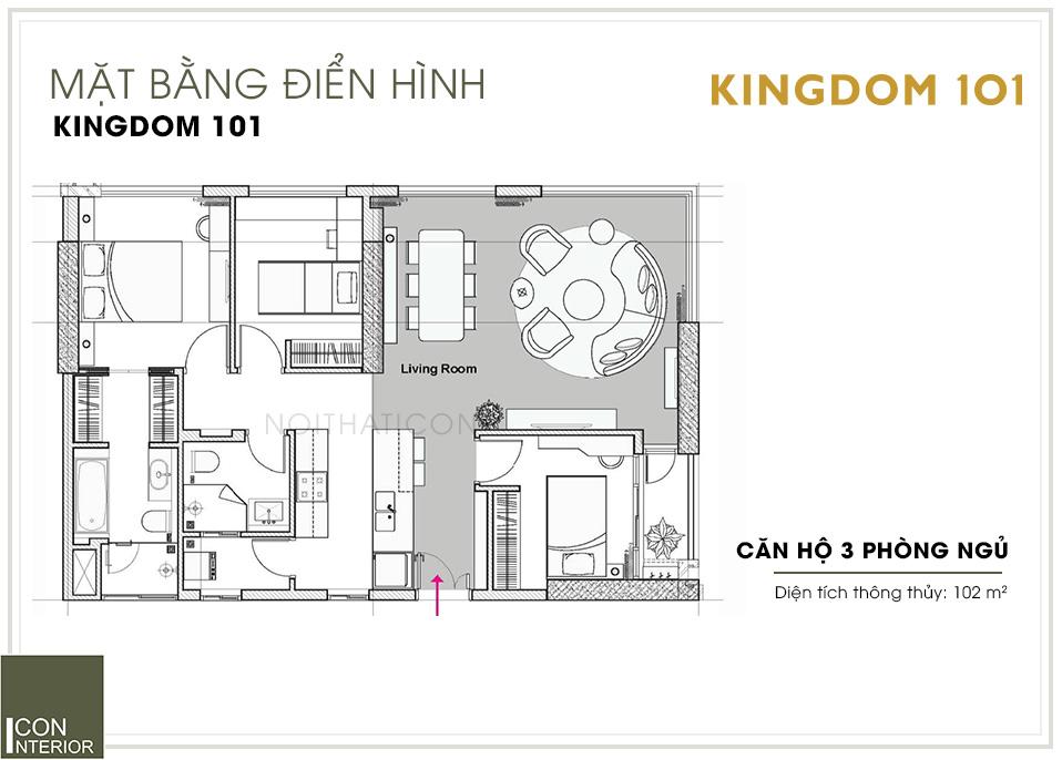 mặt bằng căn hộ kingdom 101