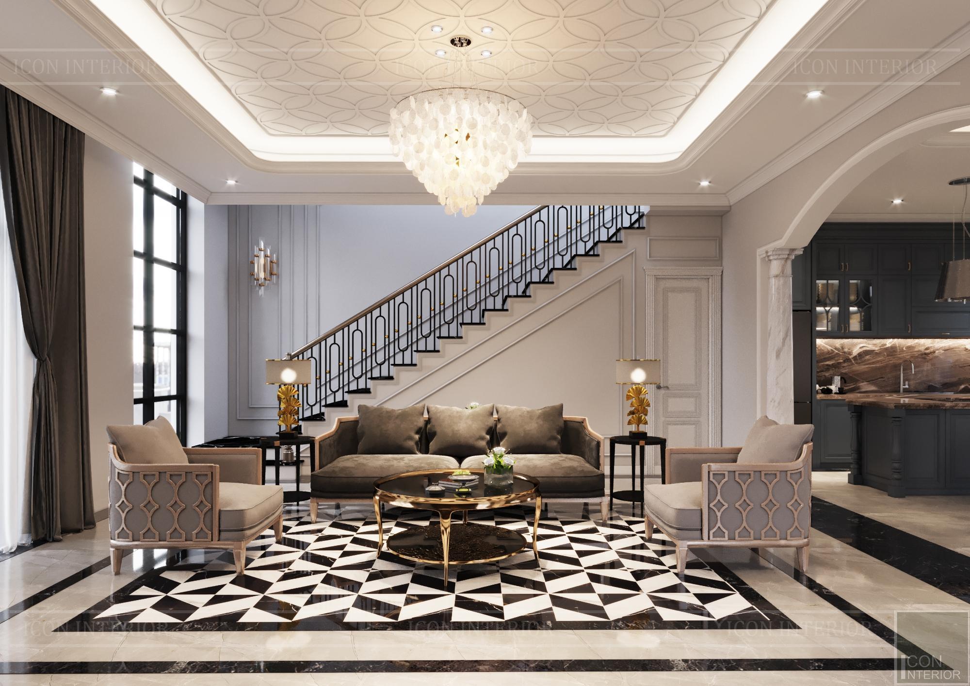 Thiết kế biệt thự 3 tầng sân Golf - phòng khách 1