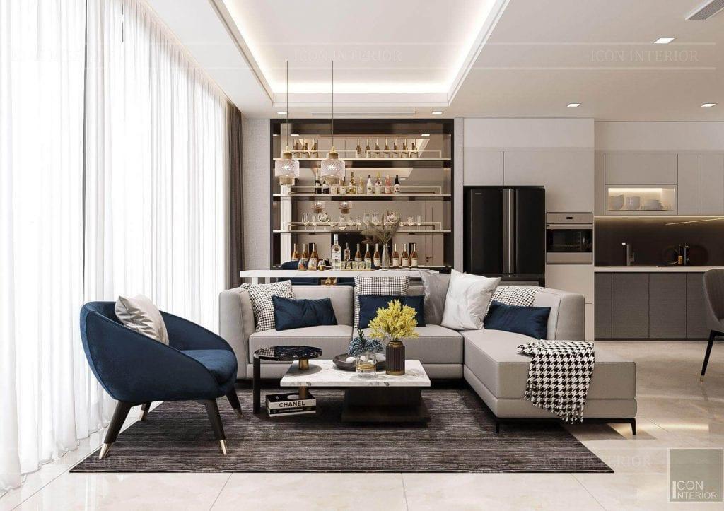 Thiết kế nội thất căn hộ chung cư Vinhomes Ba Son - phòng khách