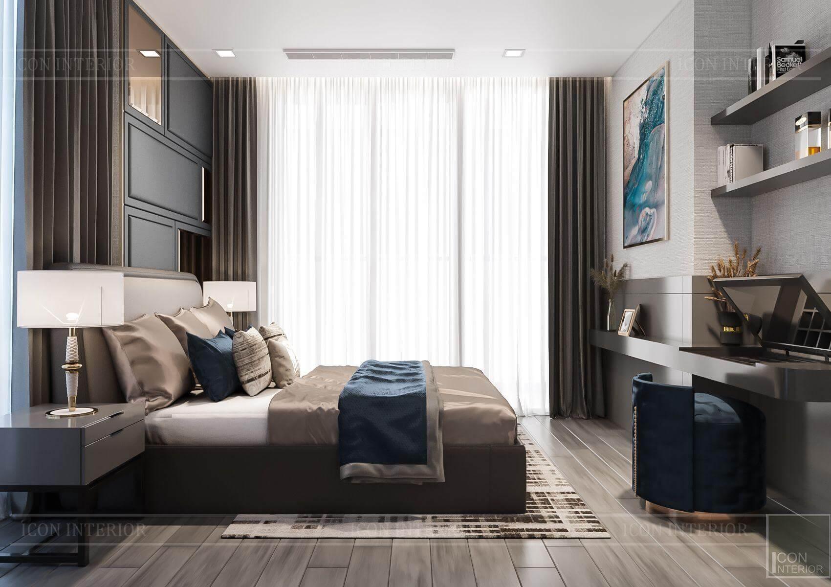 Thiết kế nội thất căn hộ chung cư Vinhomes Ba Son - view phòng ngủ
