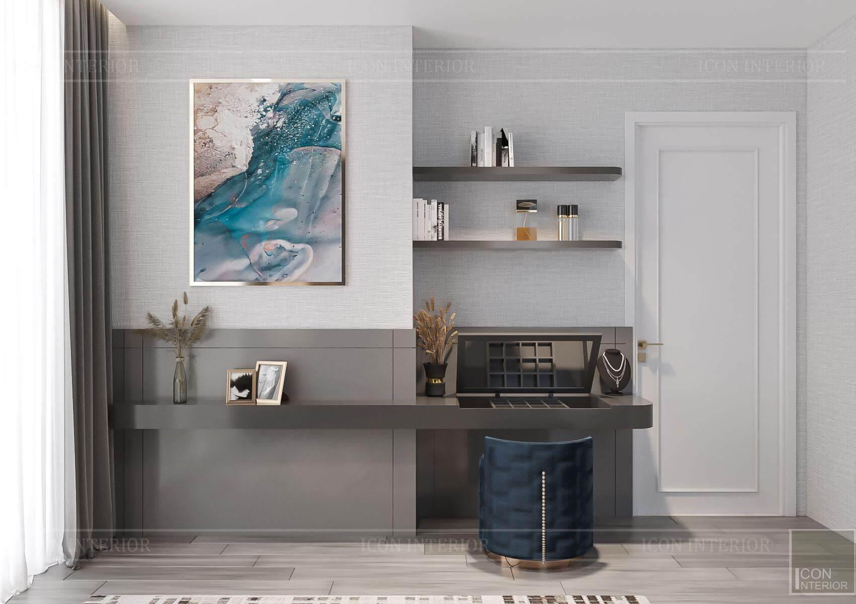 Thiết kế nội thất căn hộ chung cư Vinhomes Ba Son - bàn trang điểm phòng ngủ