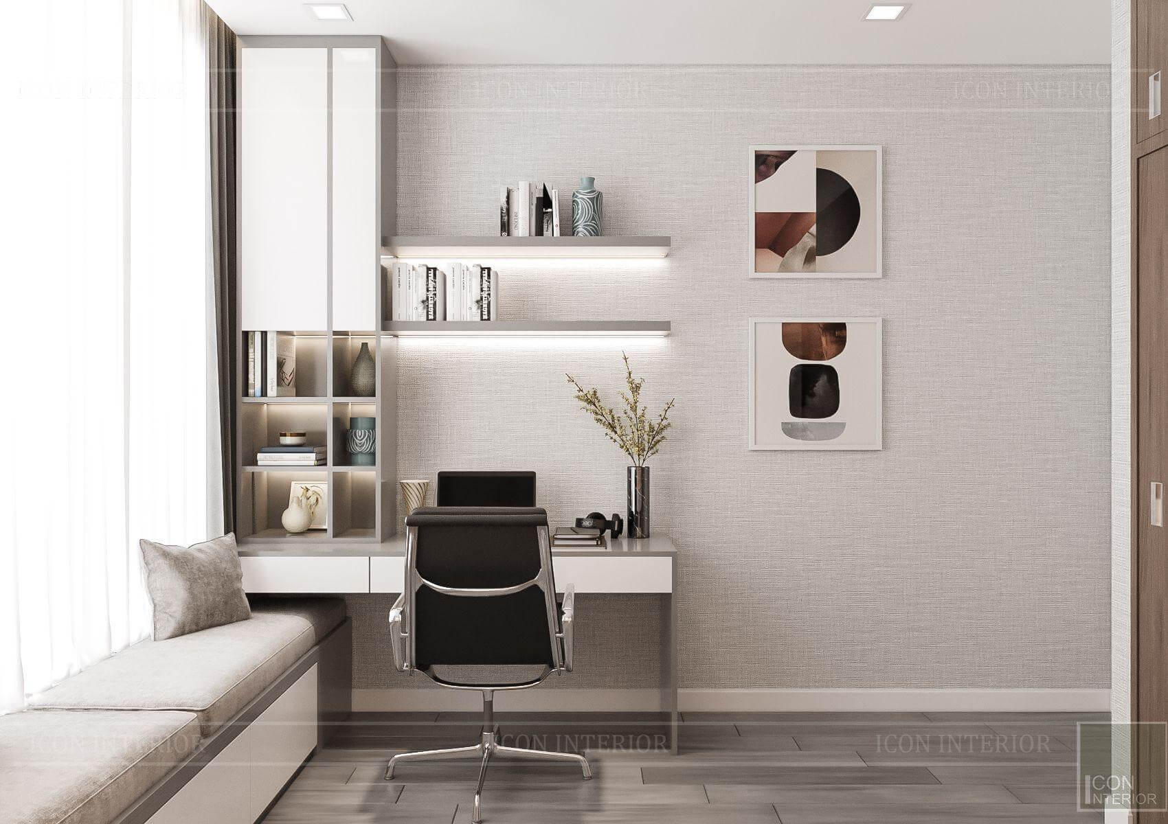 Thiết kế nội thất căn hộ chung cư Vinhomes Ba Son - phòng làm việc