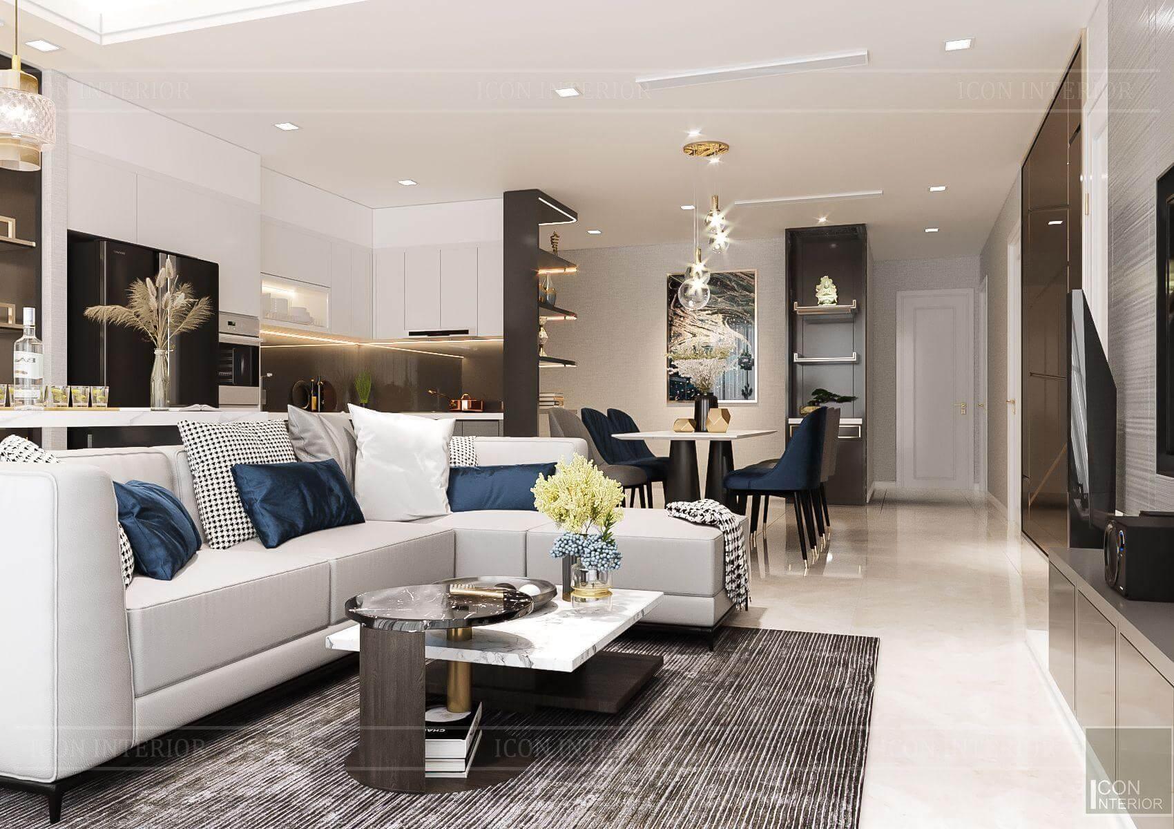 Thiết kế nội thất căn hộ chung cư Vinhomes Ba Son - sofa phòng khách