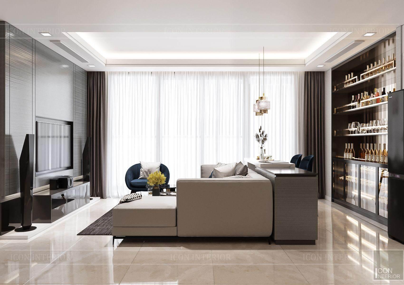 Thiết kế nội thất căn hộ chung cư Vinhomes Ba Son - view phòng khách