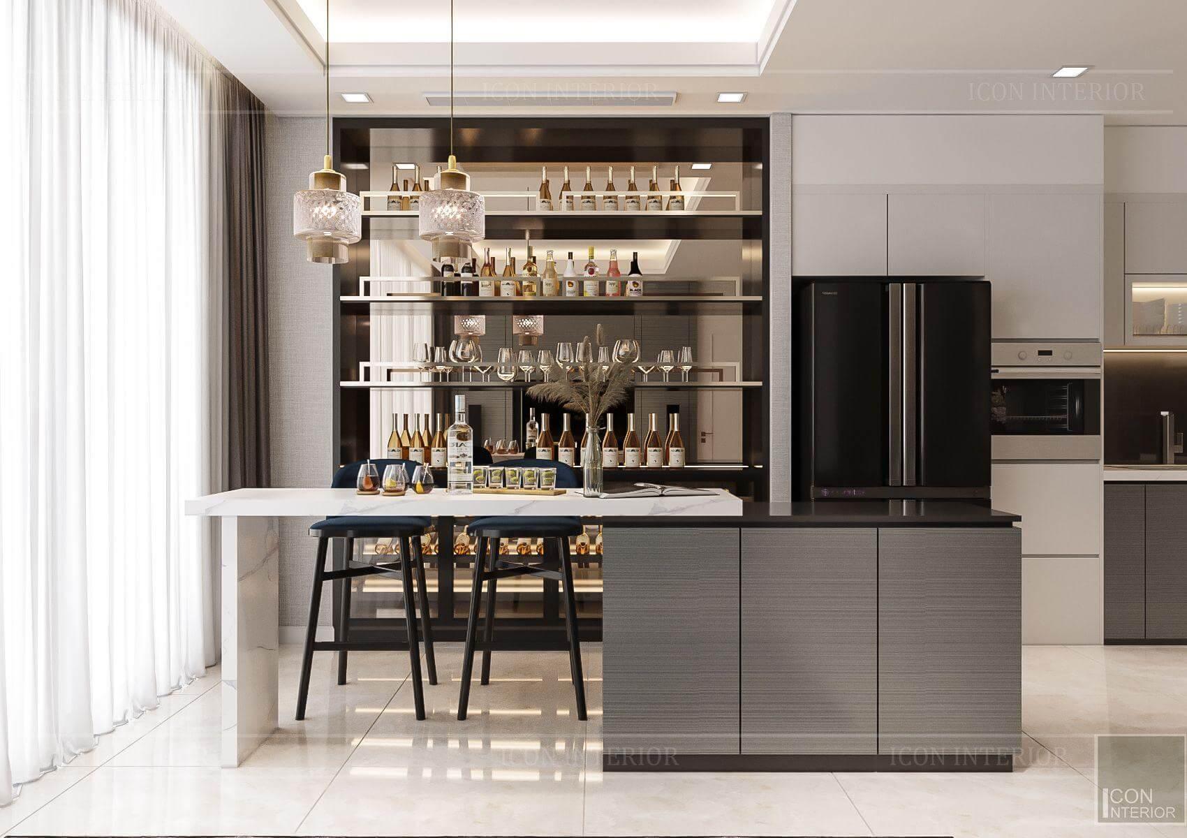 Thiết kế nội thất căn hộ chung cư Vinhomes Ba Son - bếp hiện đại