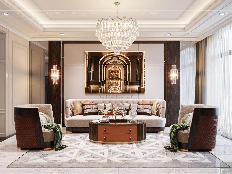 thiết kế biệt thự 2 tầng tân cổ điển - phòng khách 1