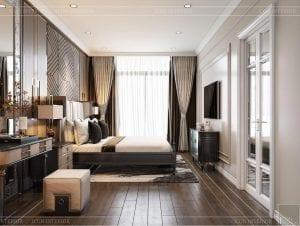 thiết kế biệt thự 2 tầng tân cổ điển - phòng ngủ master 1