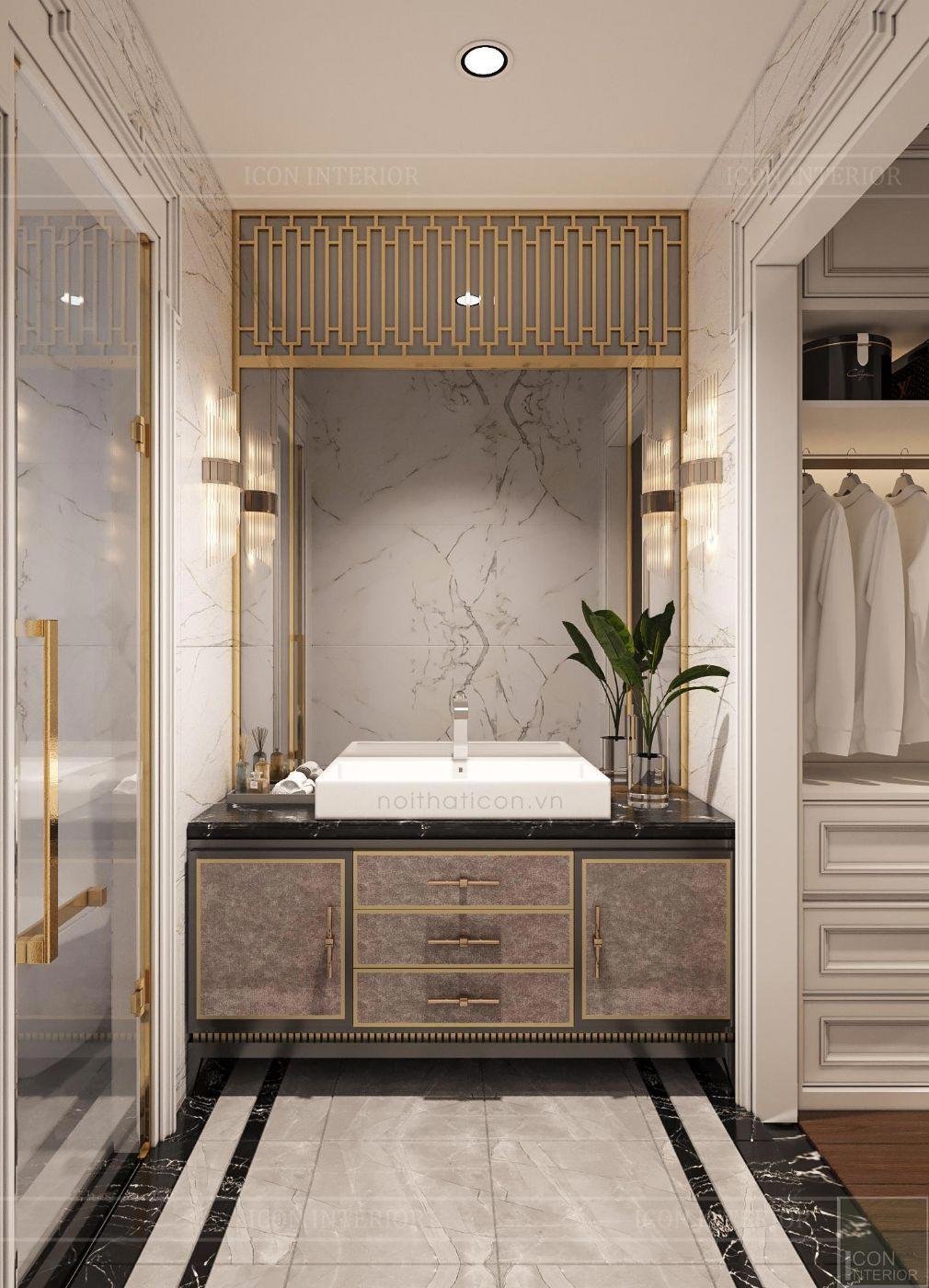thiết kế biệt thự 2 tầng tân cổ điển - phòng tắm master 1