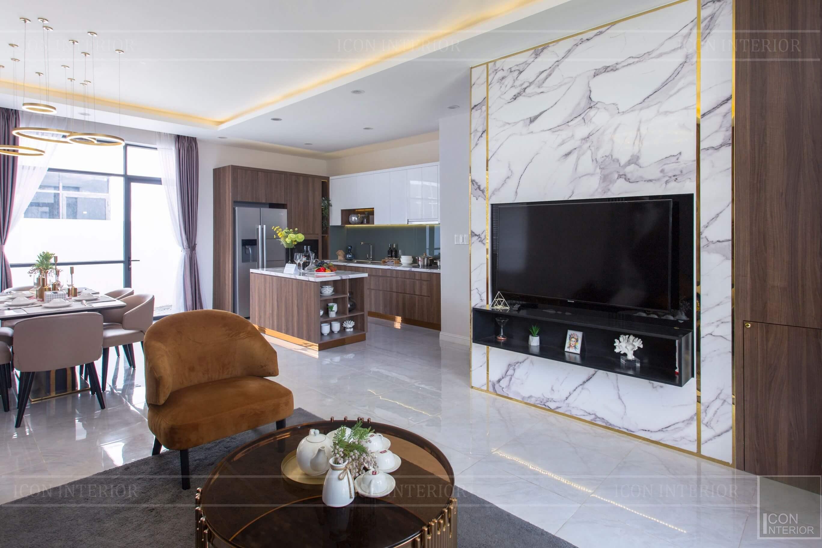 Thiết kế và thi công biệt thự Phúc An City - phòng khách 1