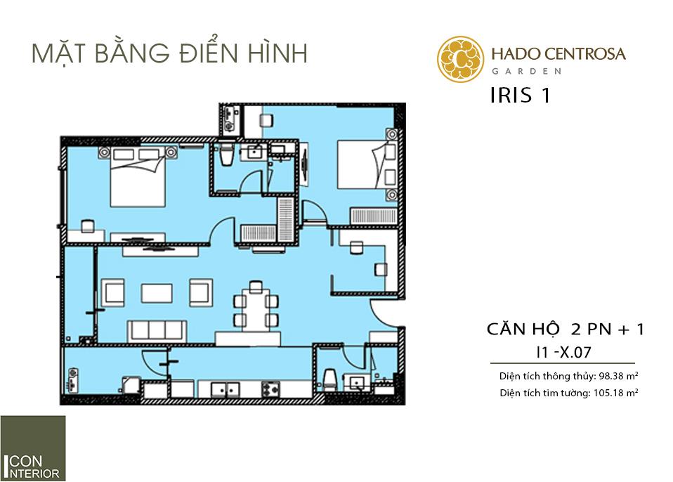 Mặt bằng căn hộ tòa Iris 1 Hà Đô Centrosa Garđen