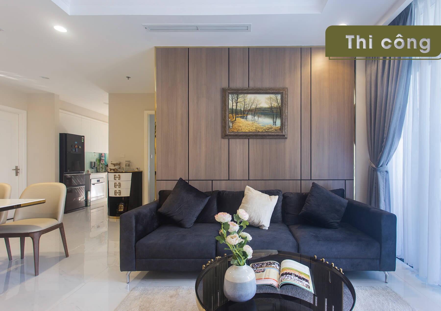 Thi công thực tế căn hộ Landmark 1 - phòng khách