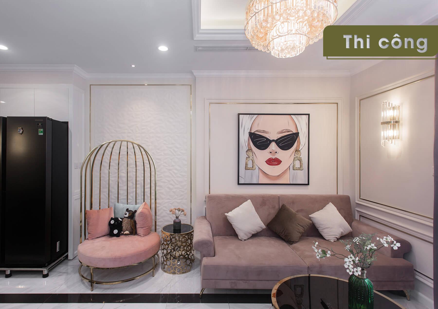 Thi công thực tế căn hộ Landmark 2 - phòng khách