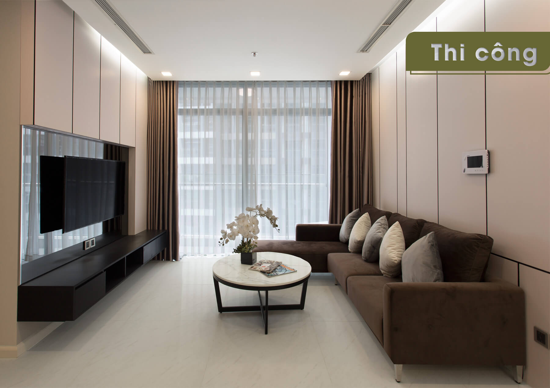 Thi công thực tế căn hộ Landmark 4 -sofa