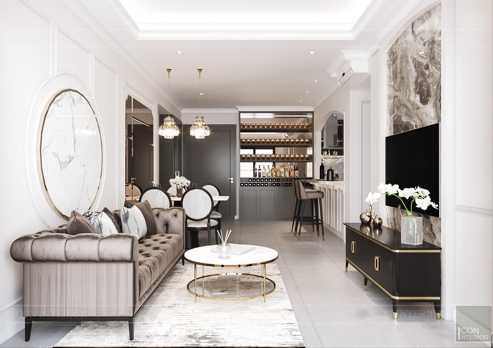 Thiết kế nội thất căn hộ Feliz En Vista - phòng khách 2