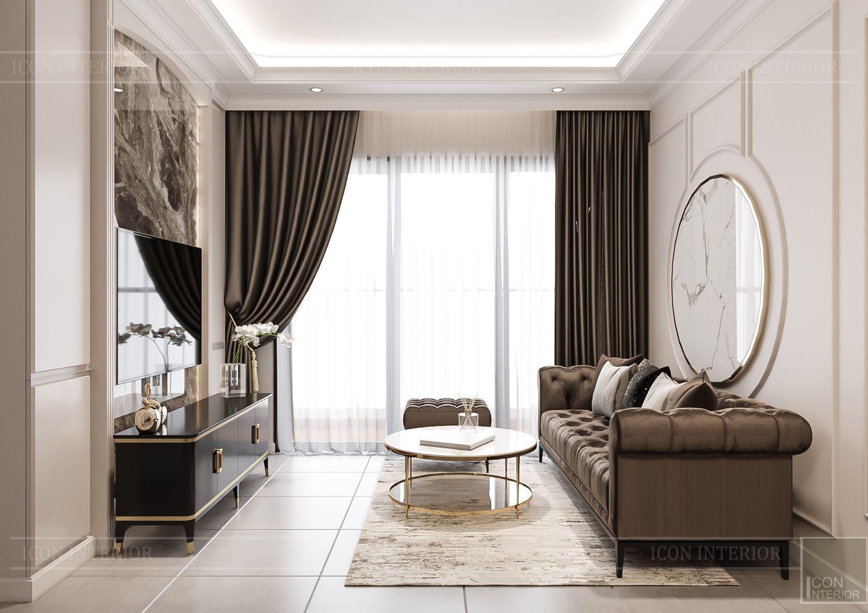 Thiết kế nội thất căn hộ Feliz En Vista - phòng khách 3