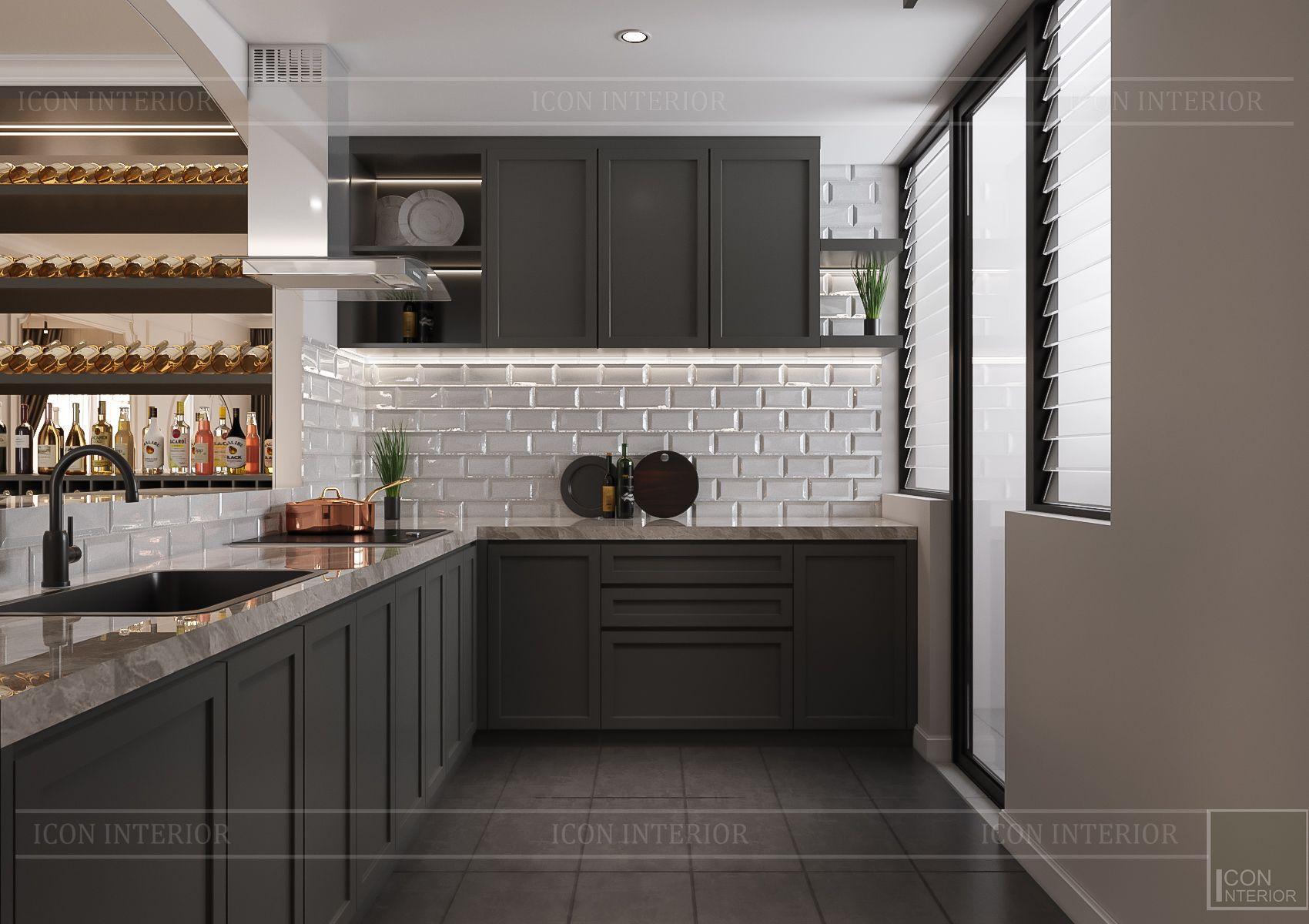 Thiết kế nội thất căn hộ Feliz En Vista - phòng bếp 1