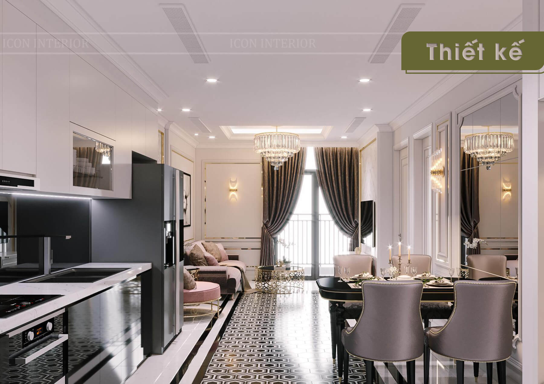 Thiết kế nội thất 3D Landmark 4 - phòng khách
