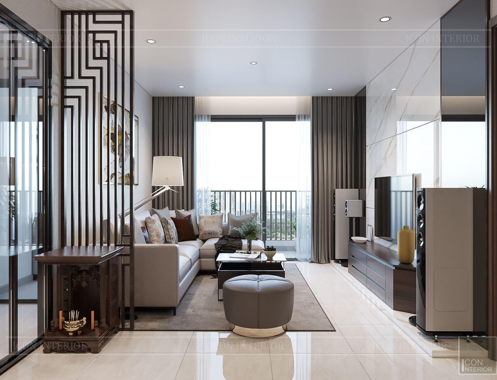Thiết kế căn hộ toàn Iris 1 Hado Centrosa - phòng khách