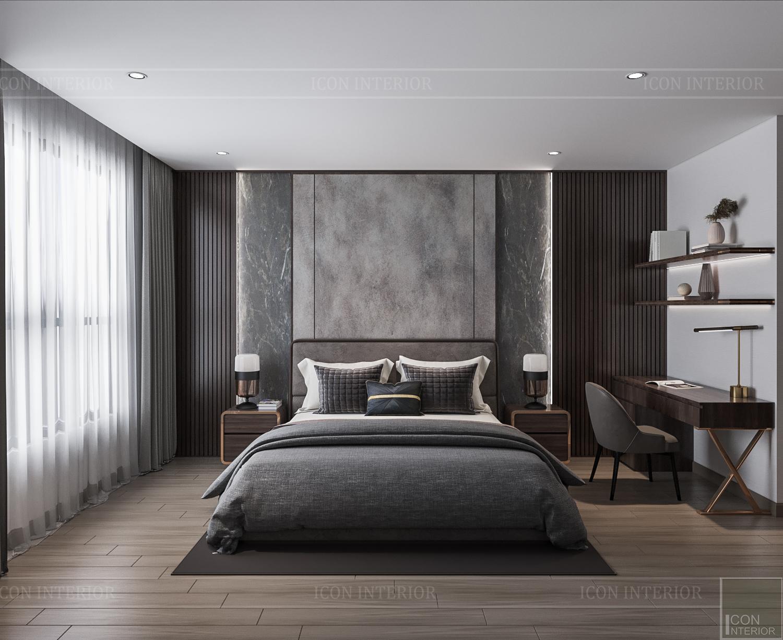Thiết kế nội thất căn hộ Hado Centrosa - phòng ngủ tông tối