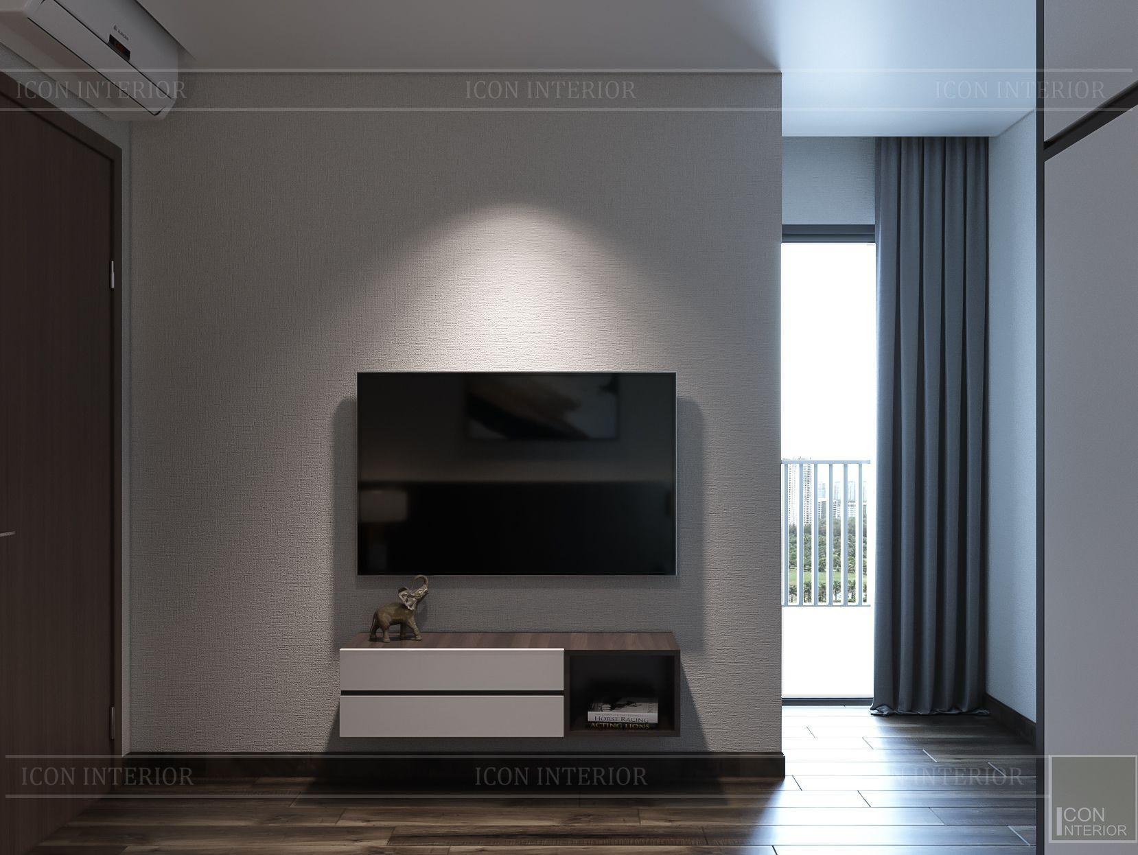 Thiết kế nội thất căn hộ Hado Centrosa - vách tivi phòng ngủ
