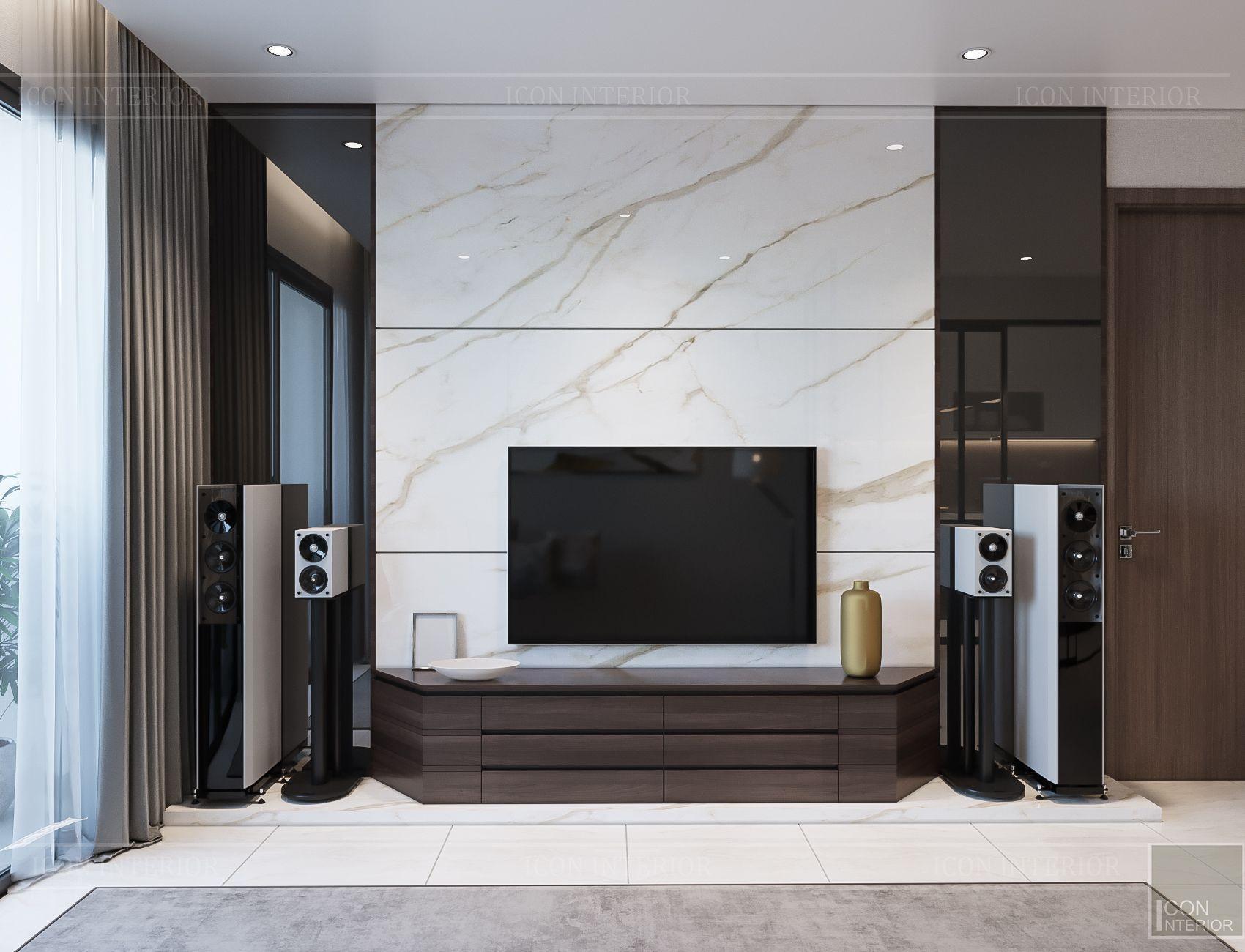 Thiết kế căn hộ toàn Iris 1 Hado Centrosa - vách tivi