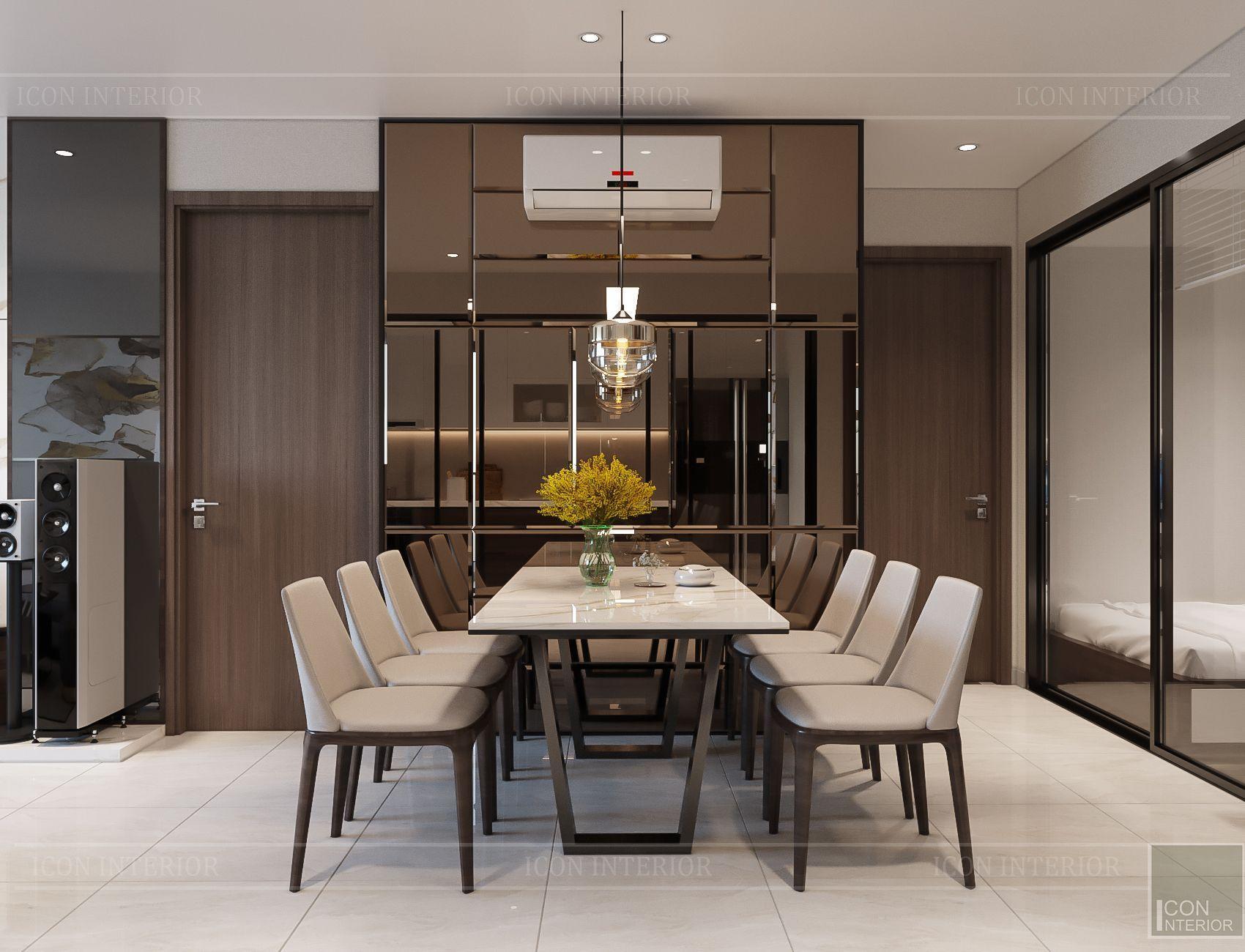 Thiết kế căn hộ toàn Iris 1 Hado Centrosa - bộ bàn ghế ăn