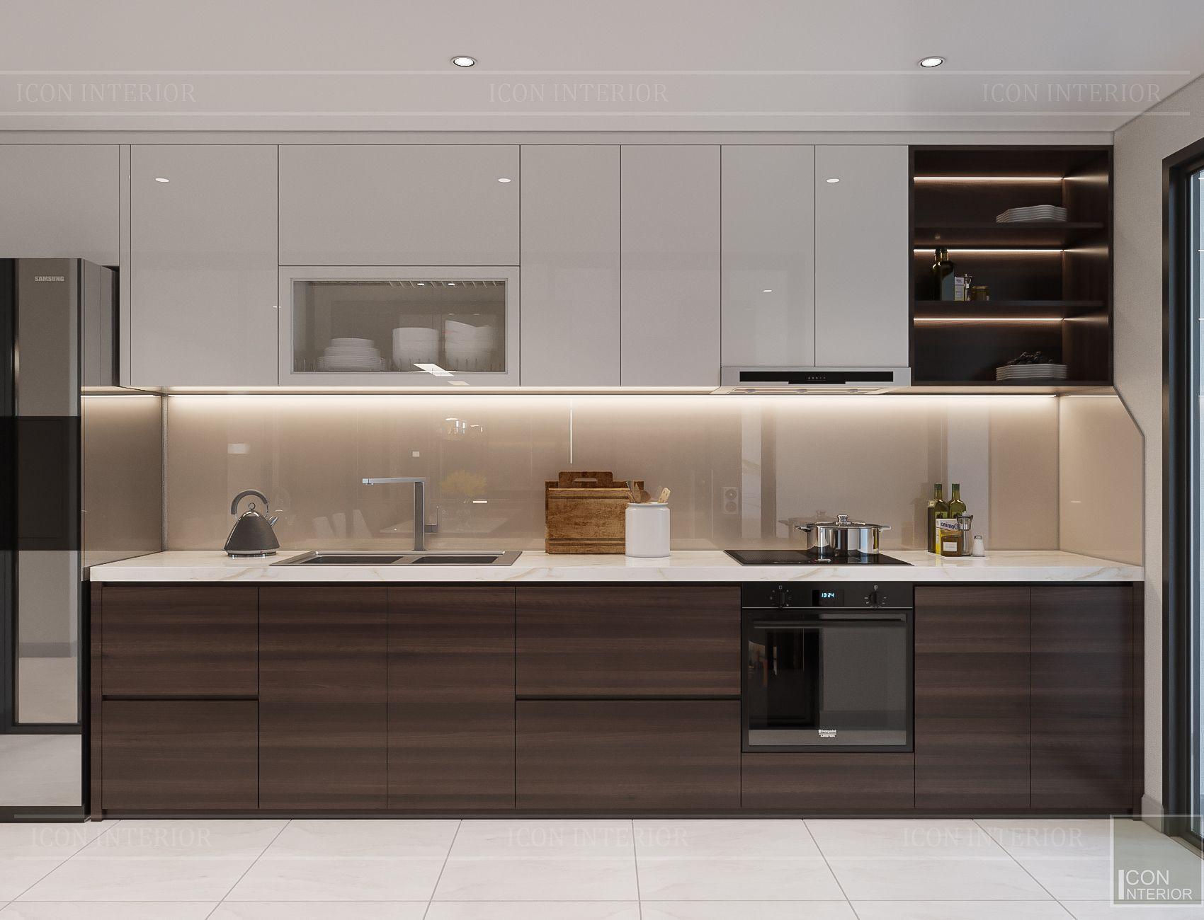 Thiết kế nội thất căn hộ Hado Centrosa - phòng bếp