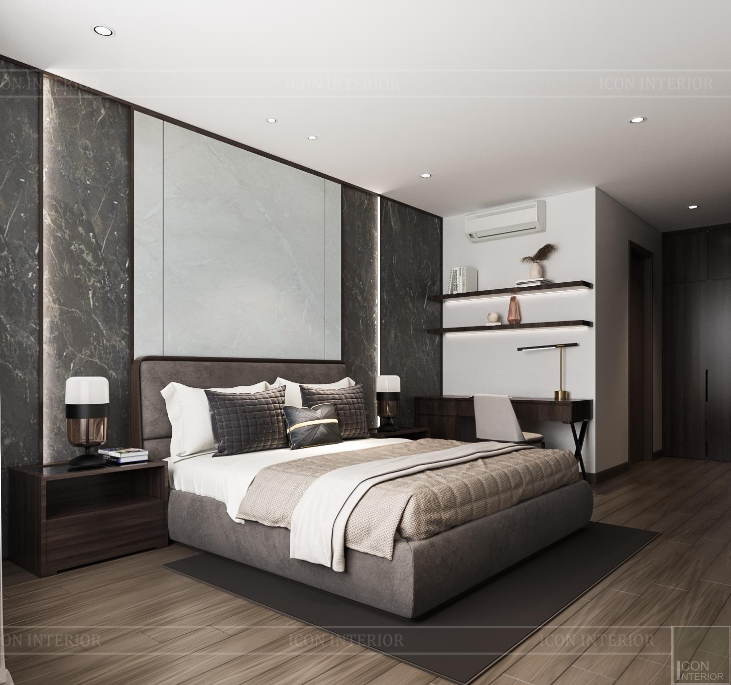 Thiết kế nội thất căn hộ Hado Centrosa - phòng ngủ mater